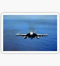 An F/A-18E Super Hornet over the Pacific Ocean. Sticker