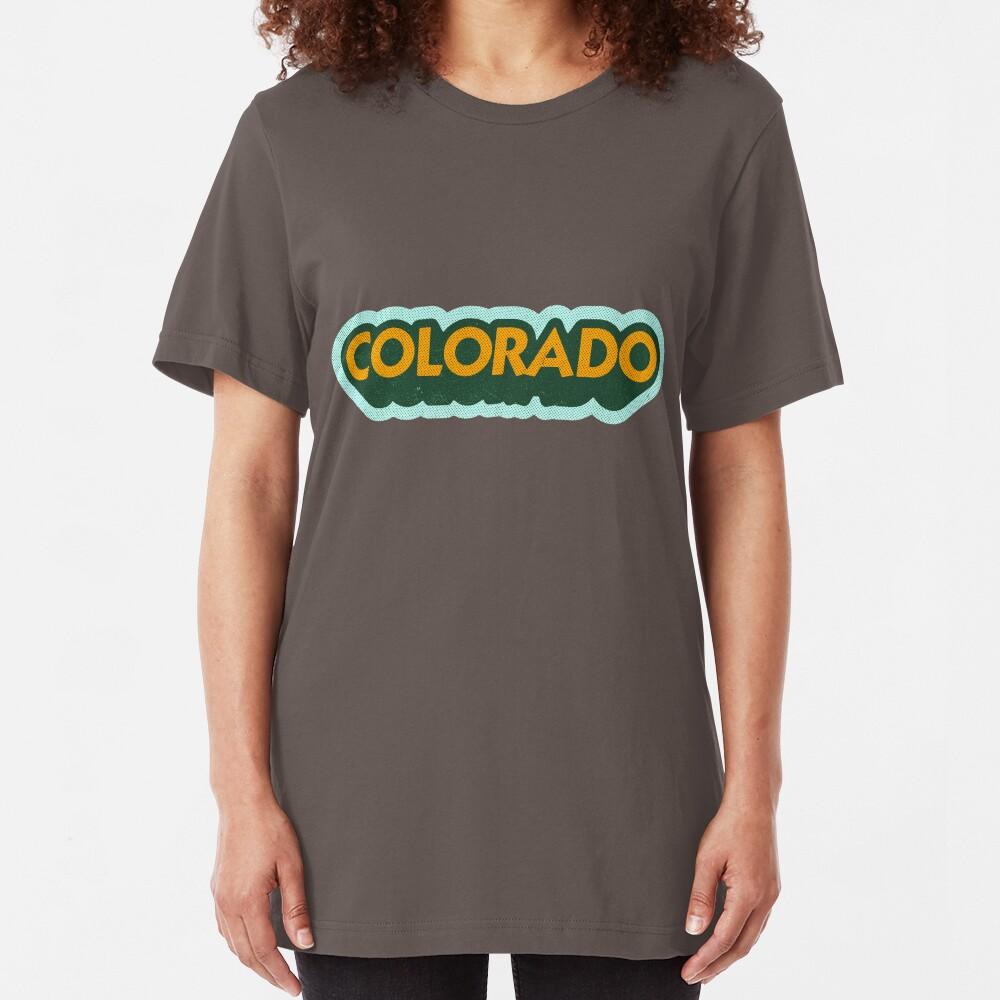 Colorado State Sticker | Retro Pop Slim Fit T-Shirt