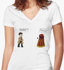 Castiel meets a Dalek Women's Fitted V-Neck T-Shirt