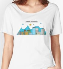 Alaska - Anchorage. Silhouette Skyline Women's Relaxed Fit T-Shirt
