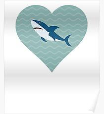 I Love Sharks Water Heart Poster