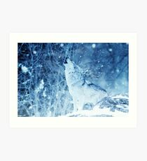 Lonely Wolf in the ice Phone Cover Art Print