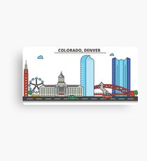 Colorado - Denver. Silhouette Skyline Canvas Print