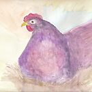 Purple Hen Watercolor by J. L. Gould