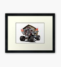 Vector Cartoon Garage Hot Rod. Framed Print