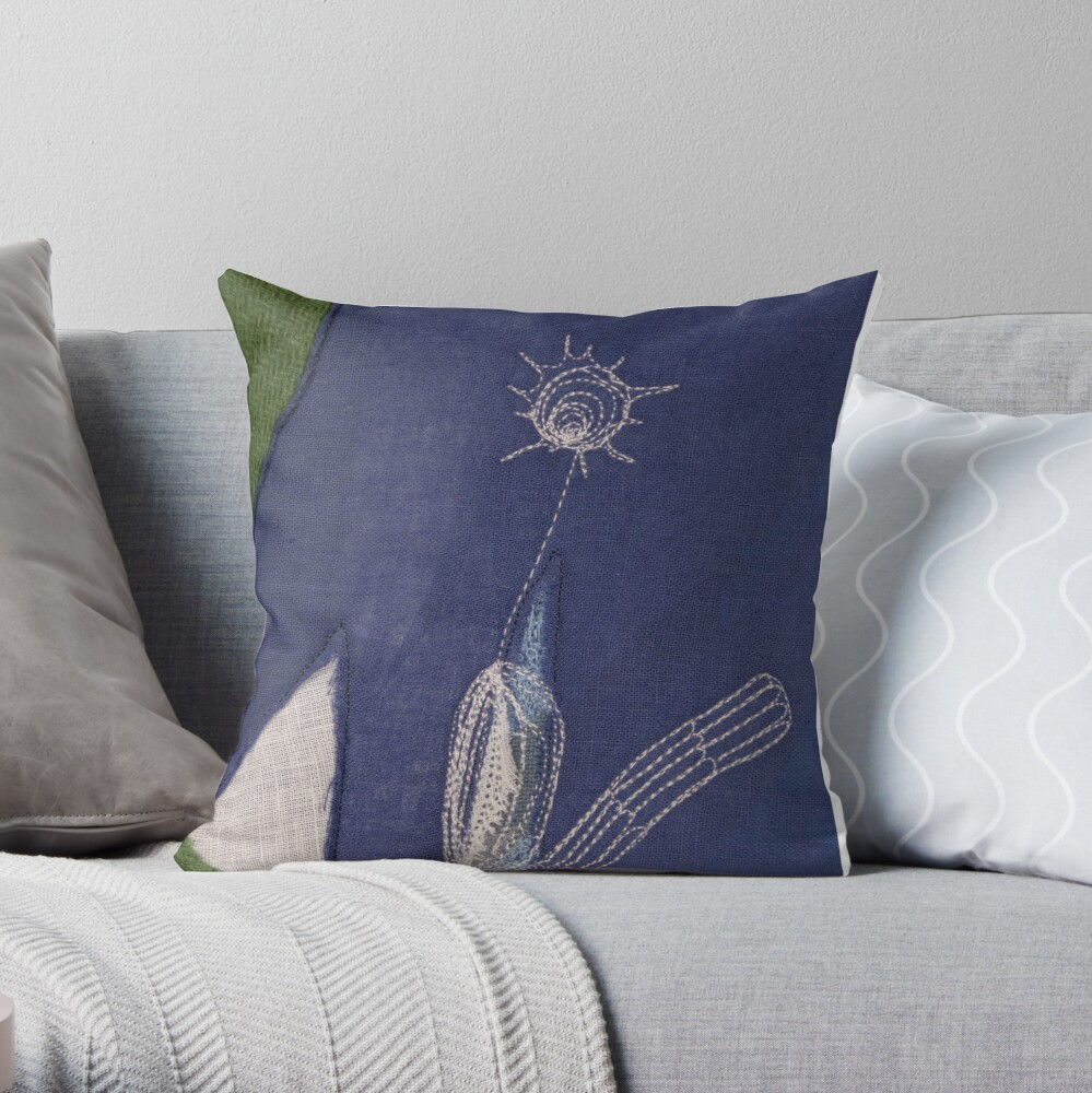 Drawing with stitching I Throw Pillow