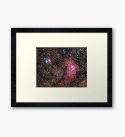 Lagoon and Trifid Nebula Framed Print