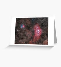 Lagoon and Trifid Nebula Greeting Card