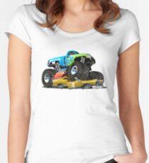 Cartoon Monster Truck Women's Fitted Scoop T-Shirt