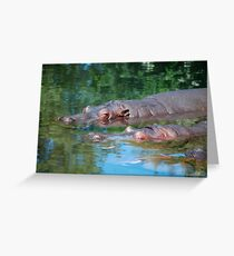 three happy hippos Greeting Card