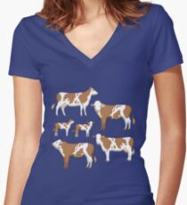 cows Women's Fitted V-Neck T-Shirt