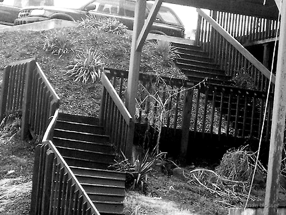 out side stairs, B&W by melynda blosser