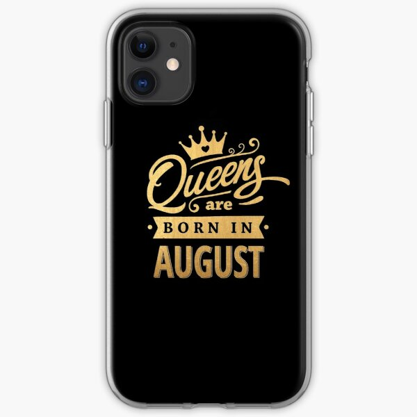 Queens are Born in August - Gold on Black iPhone Soft Case