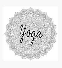 Yoga Addicts Spiritual Typography Inspirational Text On Mandala Pattern Print Photographic Print