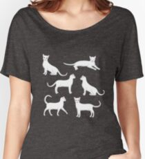 white cat Women's Relaxed Fit T-Shirt
