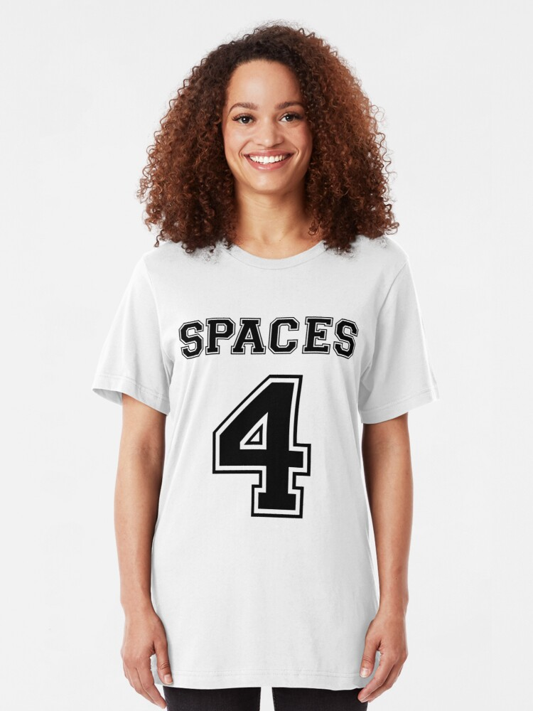 Alternate view of Spaces 4 - How Real Programmers Indent Code - Black Text Slim Fit T-Shirt