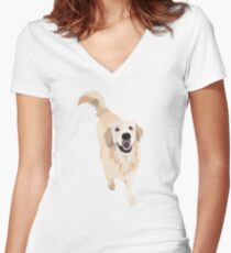 Golden Retriever Doggo Women's Fitted V-Neck T-Shirt