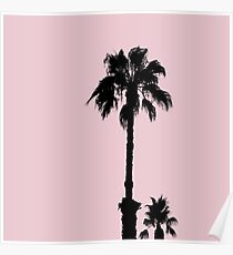 Palm Tree Silhouettes On Pink Poster