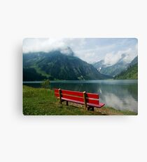Red bench with a view Metal Print