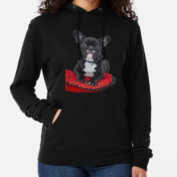 Black and White French Bulldog Puppy Lightweight Hoodie