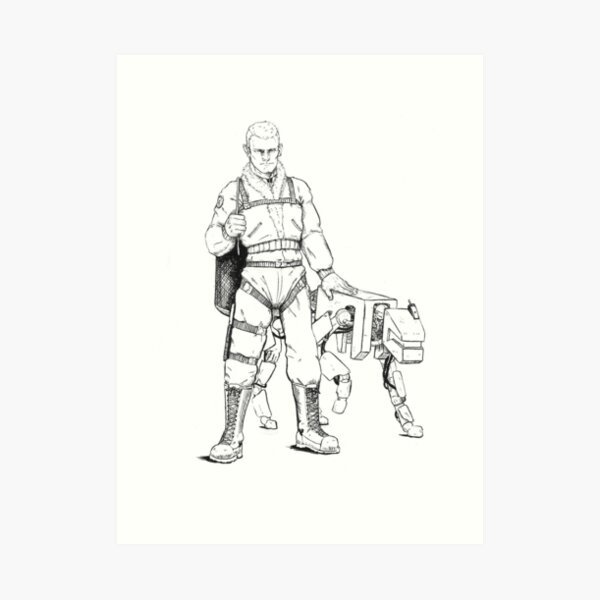 Soldier with future pupper Art Print