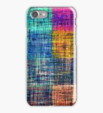 vintage square plaid pattern painting abstract in blue green brown pink iPhone Case/Skin