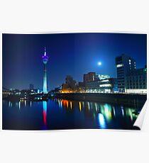 Dusseldorf Night Skyline  Poster