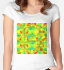 psychedelic geometric circle and square pattern abstract in yellow green blue red Women's Fitted Scoop T-Shirt