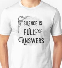 Silence Is Full Of Answers - Spiritual Yoga Meditation Typography Text Motivational Design T-Shirt