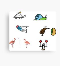 Sticker Pack: minimal animals (vol. 1) Canvas Print