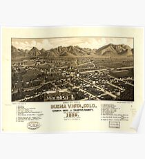 Panoramic Maps Bird's eye view of Buena Vista Colo county seat of Chaffee County 1882 Poster