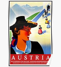 Austria, traditional woman, vintage travel poster Poster