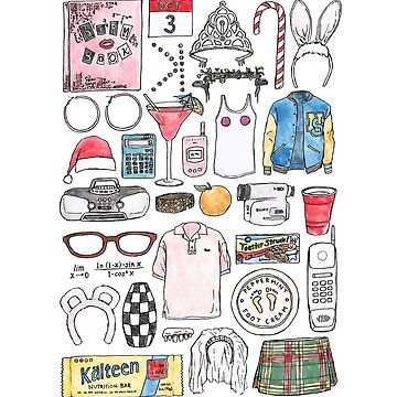 MEAN GIRLS illustration burn book quote mouse bunny ears kalteen bars tiara orange  by flatlaydesign