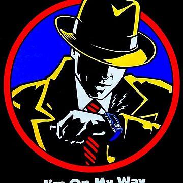 Vintage Comic Detective Guy - Digital Wrist Watch - I'm On My Way by PrintFromVintage