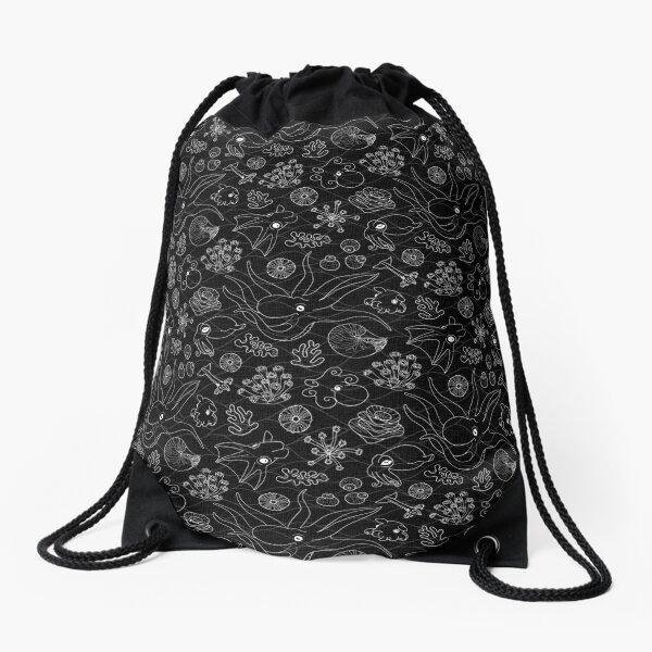 Cephalopods - Black and White Drawstring Bag