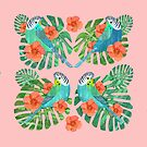 Tropical Budgies on Pink by Maria Burns