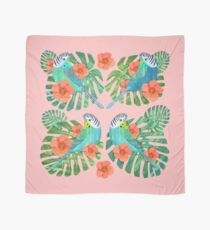 Tropical Budgies on Pink Scarf