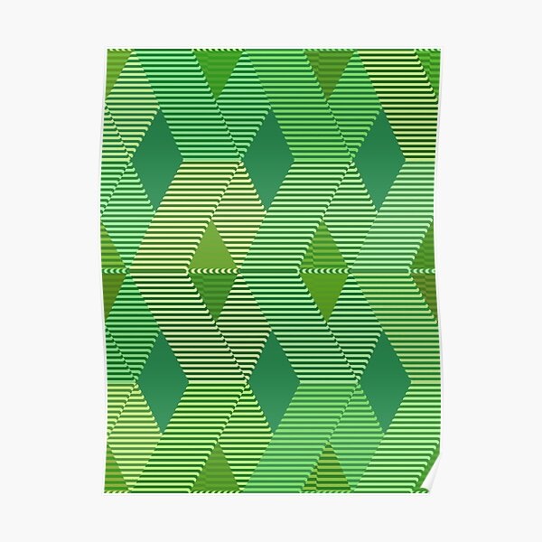Mid-Century Modern Diamond Print, Jade Green  Poster