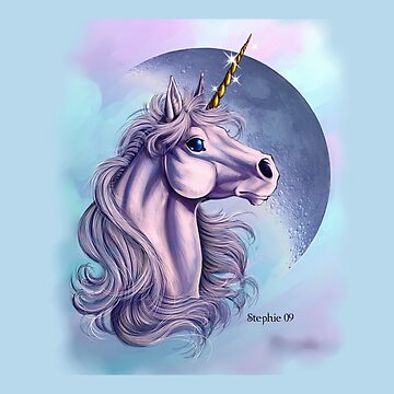 Lunar Unicorn Throw Pillow by cybercat