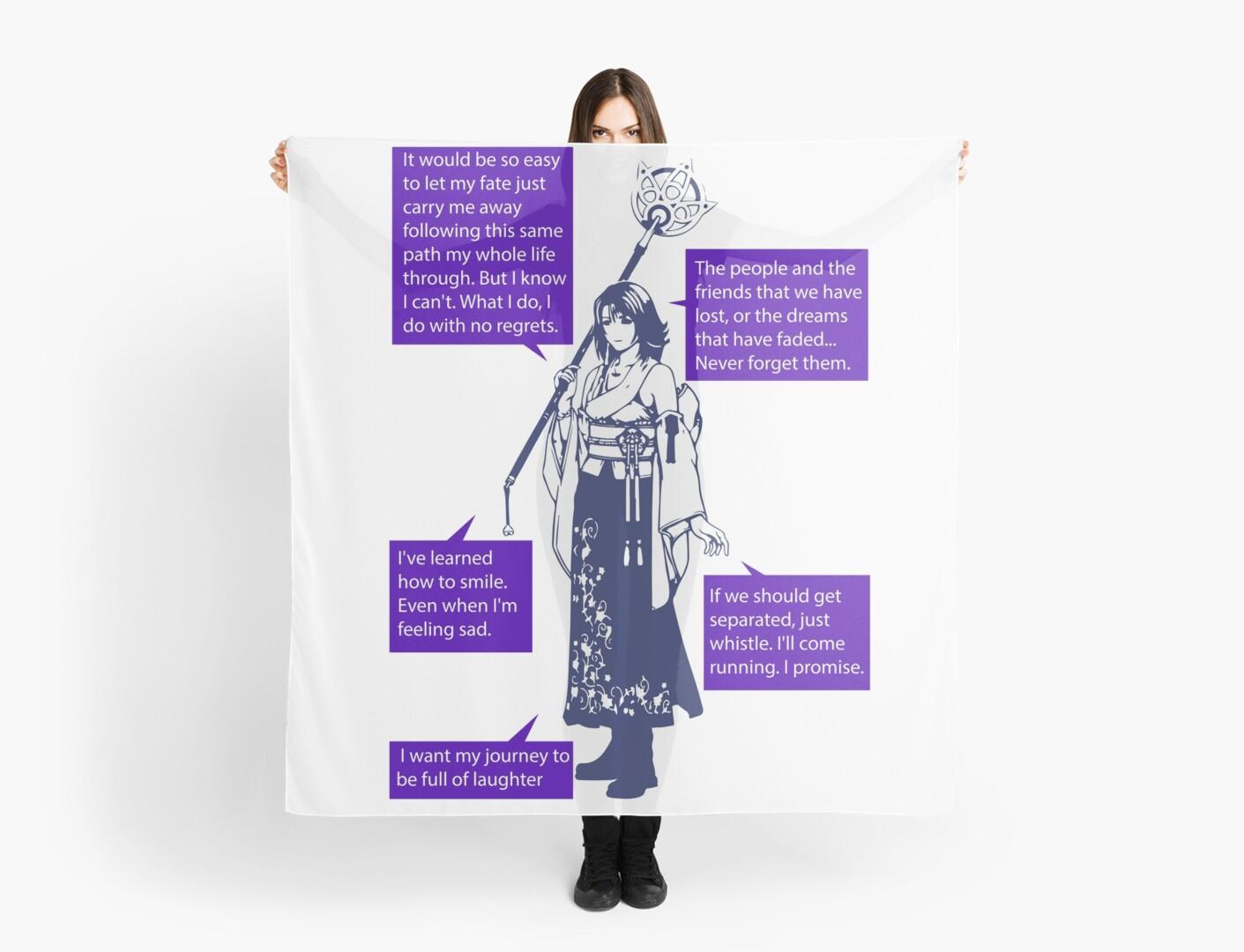 Yuna Final Fantasy X Quotes Scarf By Pressstartprint