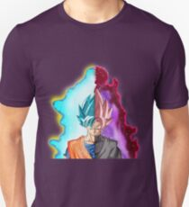Goku Blue God & Black Goku Rose T-Shirt