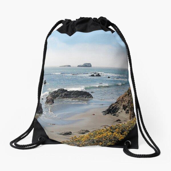 Fog Rolling Coastal Drawstring Bag