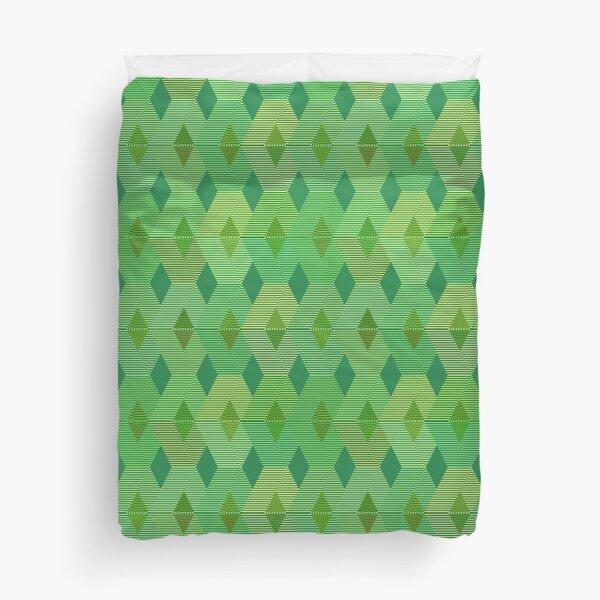 Mid-Century Modern Diamond Print, Jade Green  Duvet Cover