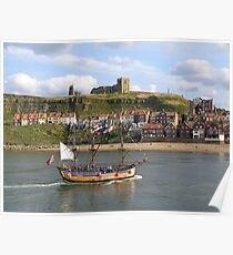 HM Bark Endeavour, WHITBY, NORTH YORKSHIRE, ENGLAND Poster