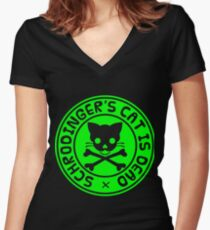 Schrodinger's cat is dead and alive Women's Fitted V-Neck T-Shirt