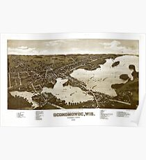 Panoramic Maps View of the city of Oconomowoc Wis Waukesha County 1885 002 Poster