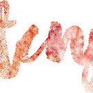 TCNJ sticker: tie-dye watercolor cursive lettering by Sam Palahnuk