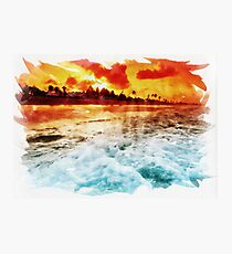 Red Sunset Over The Ocean Photographic Print