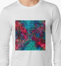 psychedelic geometric triangle abstract pattern in pink red blue T-Shirt