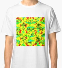 psychedelic geometric triangle abstract pattern in green yellow blue red Classic T-Shirt